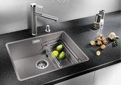 Кухонная мойка без крыла, с клапаном-автоматом, гранит, алюметаллик Blanco SUBLINE 500-F 519811