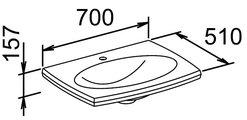Умывальник из минерального литья, 700x510мм Keuco EDITION PALAIS 40360310001