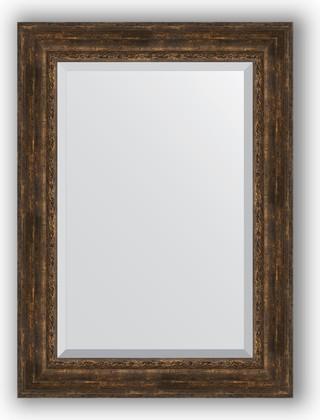 Зеркало с фацетом в багетной раме 82x112см состаренное дерево с орнаментом 120мм Evoform BY 3482