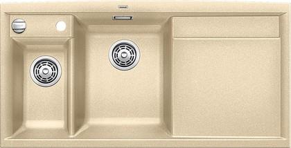 Кухонная мойка чаши слева, крыло справа, с клапаном-автоматом, с коландером, гранит, шампань Blanco AXIA II 6 S 516834