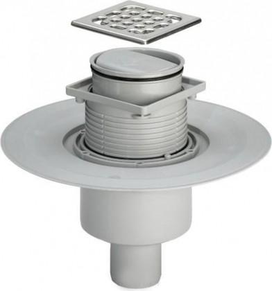 Трап 100х100мм с сухим затвором для ванной комнаты напольный с декоративной пластиковой решёткой, 0,4л/с Viega Advantix 583224