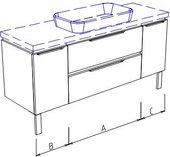 Тумба напольная, 2 ящика, 2 дверцы, без столешницы и раковины 200х50х50см Verona Ampio AM210.A110.B045.C045