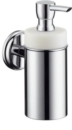 Дозатор для жидкого мыла керамический с хромированным настенным держателем Hansgrohe Logis Classic 41614000