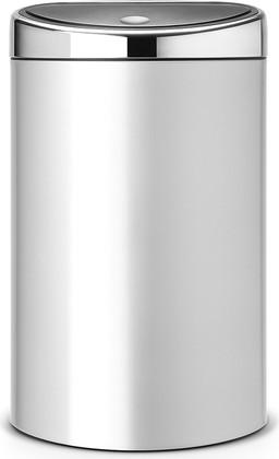 Ведро для мусора с плоской задней стороной 40л серый металлик Brabantia TOUCH BIN 361722