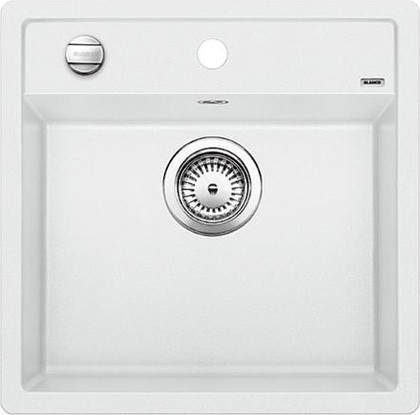 Кухонная мойка без крыла, с клапаном-автоматом, гранит, белый Blanco DALAGO 5 518524