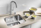Кухонная мойка без крыла, с клапаном-автоматом, нержавеющая сталь полированная Blanco SUPRA 400-U 518202
