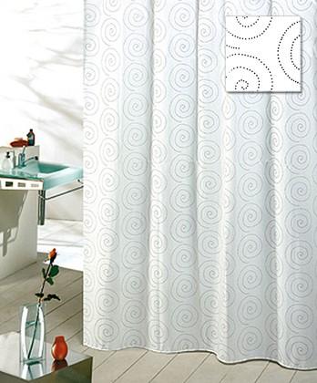 Штора для ванны 180x200см текстильная белая с кольцами 12шт Grund SPIRALE 3016.98.032