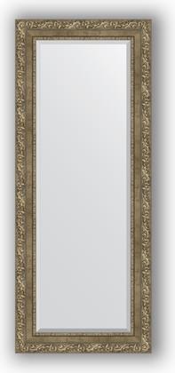 Зеркало с фацетом в багетной раме 55x135см виньетка античная латунь 85мм Evoform BY 3515
