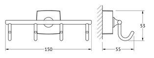 Крючки, моноблок четверной хром FBS ESP 004