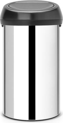 Ведро для мусора 60л стальное глянцевое с чёрной крышкой Brabantia TOUCH BIN 402586