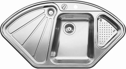 Кухонная мойка крыло слева, с клапаном-автоматом, с коландером, нержавеющая сталь полированная Blanco DELTA-IF 514626