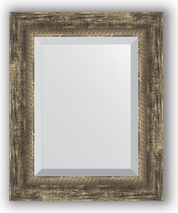 Зеркало с фацетом в багетной раме 43x53см старое дерево с плетением 70мм Evoform BY 3356