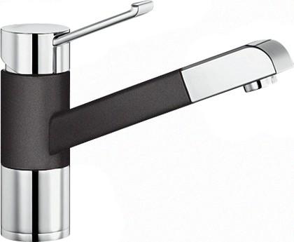 Смеситель кухонный однорычажный с выдвижным изливом, хром / тёмная скала Blanco ZENOS-S 518784