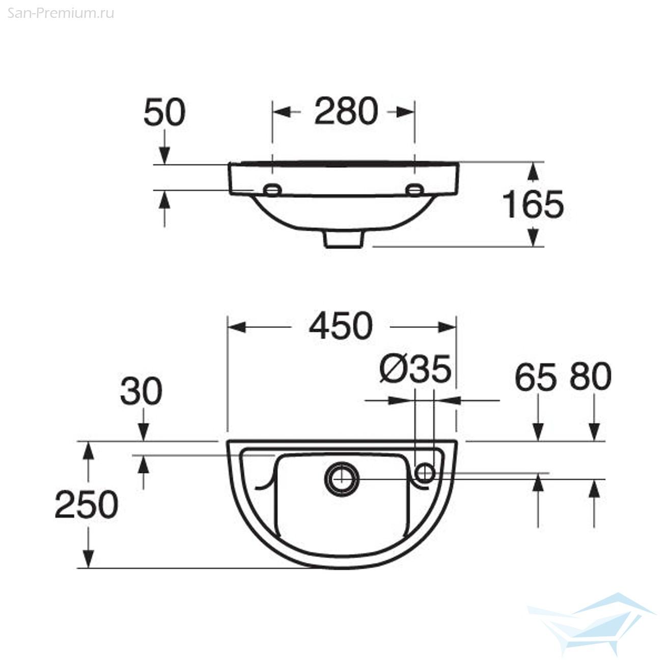 Размеры раковины