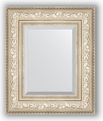 Зеркало с фацетом в багетной раме 50x60см виньетка серебро 109мм Evoform BY 3374