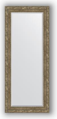 Зеркало с фацетом в багетной раме 60x145см виньетка античная латунь 85ММ Evoform BY 3541