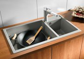 Кухонная мойка основная чаша слева, без крыла, гранит, серый беж Blanco METRA 9 517364