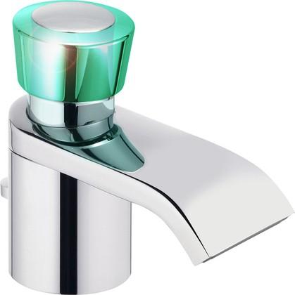 Смеситель для раковины однорычажный с донным клапаном, хром / зеленоватый хрусталь Kludi JOOP! 55023H705