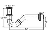 Сифон для биде трубчатый металлический, хром Viega 103781