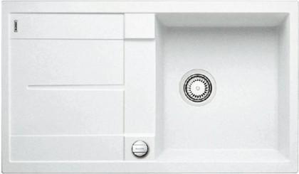 Кухонная мойка оборачиваемая с крылом, с клапаном-автоматом, гранит, белый Blanco METRA 5 S-F 519099