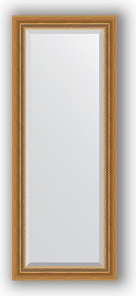 Зеркало с фацетом в багетной раме 53x133см состаренное золото с плетением 70мм Evoform BY 3509