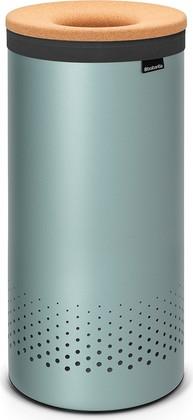 Бак для белья 35л мятный металлик с крышкой из пробки Brabantia 104381
