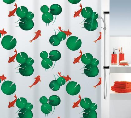 Штора для ванны 180x200см оранжево-зелёная Spirella KOI 1015219