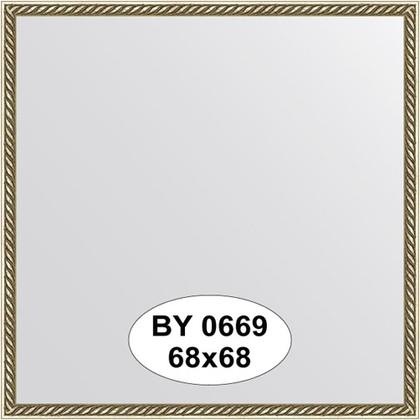 Зеркало 68x68см в багетной раме витая латунь Evoform BY 0669