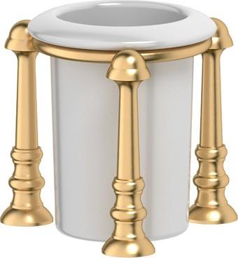 Стакан фарфоровый с настольным металлическим держателем, матовое золото 3SC STI 327