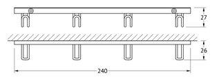 Планка с 4мя крючками, 24х3х3см хром FBS RYN 032