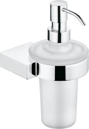 Дозатор для жидкого мыла со стеклянной колбой и металлическим хромированным держателем Kludi A-XES 4897605