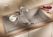 Кухонная мойка оборачиваемая с крылом, с клапаном-автоматом, гранит, белый Blanco METRA 5 S 513037