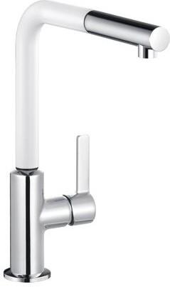 Смеситель для кухни однорычажный с выдвижным изливом, хром / белый матовый Kludi L-INE S 408519375