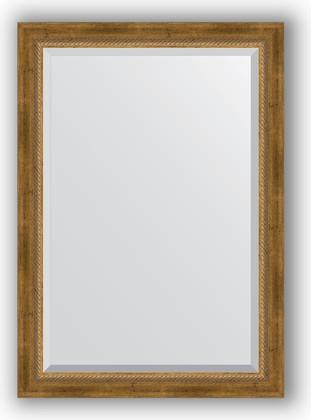 Зеркало с фацетом в багетной раме 73x103см состаренное бронза с плетением 70мм Evoform BY 3458