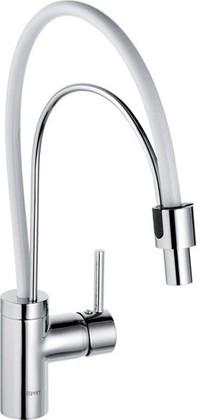 Смеситель для кухни однорычажный с выдвижным изливом, белый / хром Kludi BINGO STAR 428590578
