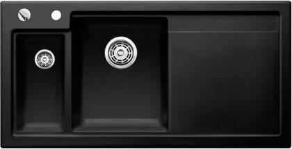 Кухонная мойка чаши слева, крыло справа, с клапаном-автоматом, с коландером, керамика, чёрный Blanco AXON II 6 S PuraPlus 516555