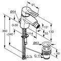 Смеситель для биде однорычажный с донным клапаном, хром Kludi MX 332150562