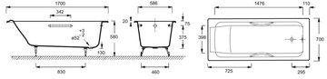 Ванна чугунная 170x70см с отверстиями для ручек, Antislip Jacob Delafon PARALLEL E2948-00