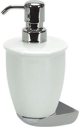 Ёмкость для жидкого мыла белая с хромированным настенным держателем Spirella DARWIN 1004710