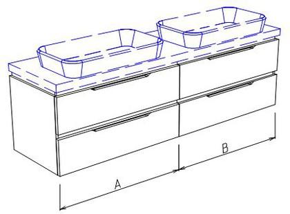 Тумба подвесная для двух раковин, 4 ящика, без столешницы и раковин 180х50х50см Verona Ampio AM108.A090.B090.000