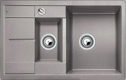 Кухонная мойка оборачиваемая с крылом, с клапаном-автоматом, гранит, алюметаллик Blanco METRA 6 S COMPACT 513553