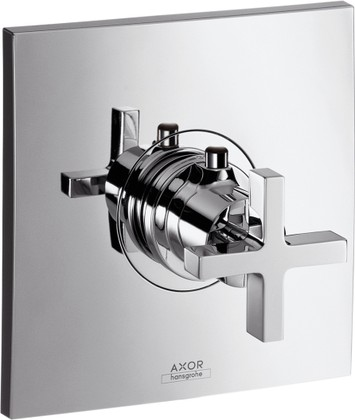 Термостат центральный встраиваемый с крестовой рукояткой без встраиваемого механизма, хром Hansgrohe AXOR Citterio 39716000