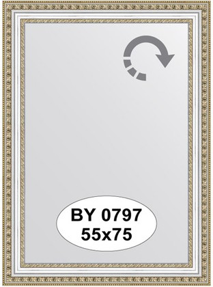 Зеркало 55x75см в багетной раме бусы платиновые Evoform BY 0797