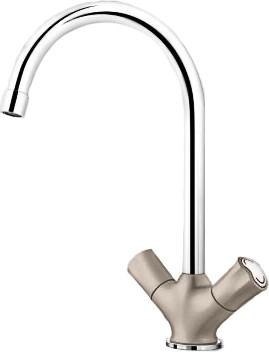 Классический кухонный вентильный смеситель с высоким изливом, хром / серый беж Blanco AMONA 520775