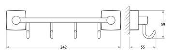 Держатель с четырьмя крючками, 25см хром FBS ESP 025
