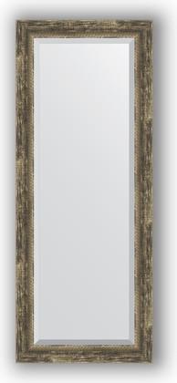Зеркало с фацетом в багетной раме 53x133см старое дерево с плетением 70мм Evoform BY 3512