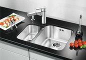 Кухонная мойка основная чаша справа, без крыла, с клапаном-автоматом, нержавеющая сталь полированная Blanco YPSILON 550-U 518211