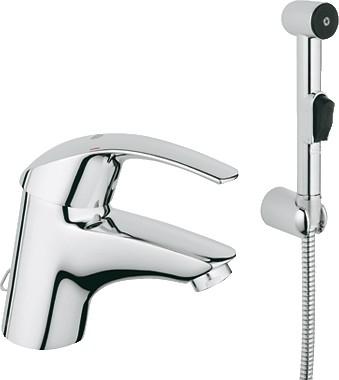 Смеситель однорычажный с цепочкой и гигиеническим душем для раковины, хром Grohe EUROSMART Hygienica 33462001