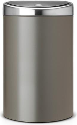 Ведро для мусора с плоской задней стороной 40л платиновое Brabantia TOUCH BIN 442261