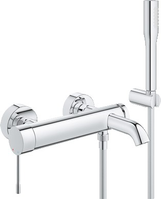 Смеситель для ванны однорычажный с душевым гарнитуром, хром Grohe ESSENCE New 33628001